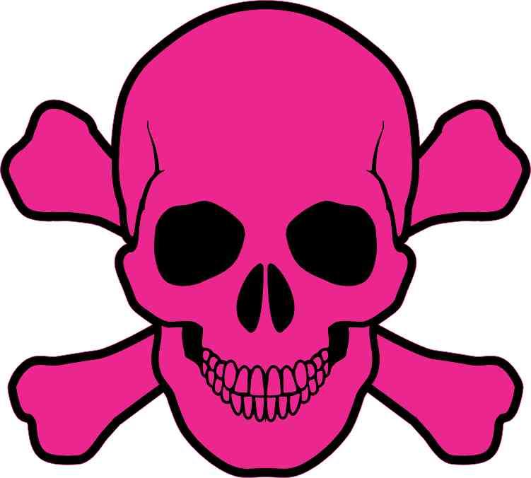 A pink skull and cross bones